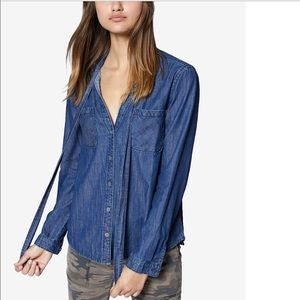 SANCTUARY Button Front Tie Neck Denim Shirt XS
